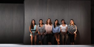 """(From L) Canadian Florie Valiquette as Milica, Belgian Liesbeth Devos as Danica, Canadian Mireille Lebel as Ljubica, French Pauline Sikirdji as Zora, Canadian Andrea Ludwig as Nada and Irish Jennifer Davis as Lena perform in the opera """"Svadba"""" by Ana Sokolovic, directed by Zack Wingkur and Ted Huffman and conducted by Dairine Ni Mheadhra on June 27, 2015 during the International Festival of Lyric Art in the French southeastern city of Aix-en-Provence. AFP PHOTO / BORIS HORVAT"""